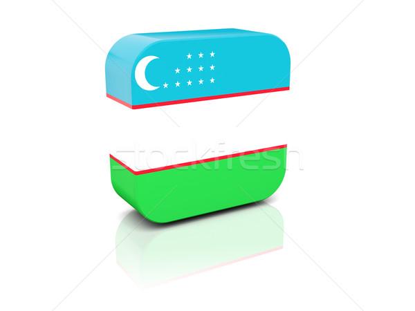 Tér ikon zászló Üzbegisztán tükröződés fehér Stock fotó © MikhailMishchenko