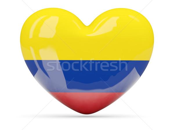 Szív alakú ikon zászló Colombia izolált Stock fotó © MikhailMishchenko