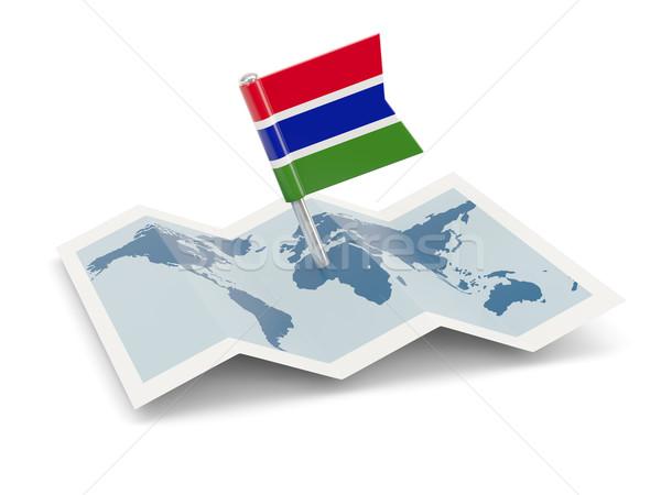 Pokaż banderą Gambia odizolowany biały Zdjęcia stock © MikhailMishchenko