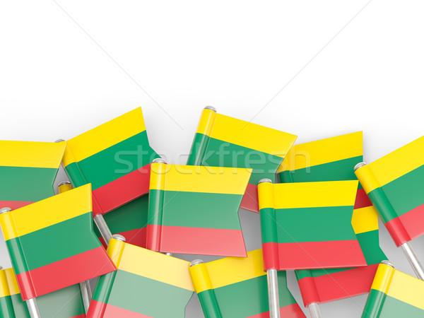 Vlag pin Litouwen geïsoleerd witte achtergrond Stockfoto © MikhailMishchenko