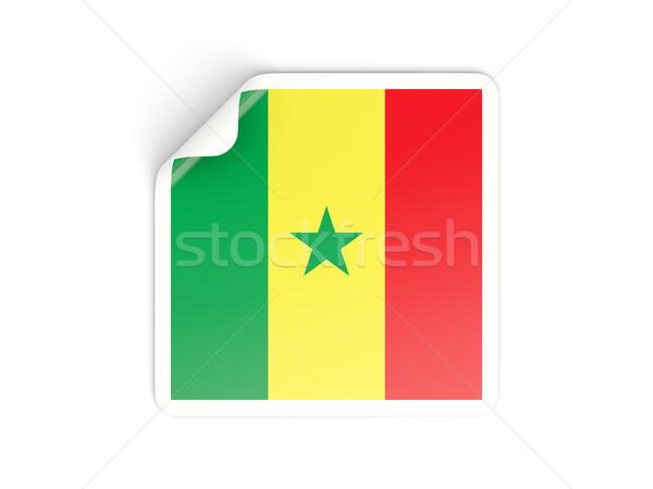 Piazza adesivo bandiera Senegal isolato bianco Foto d'archivio © MikhailMishchenko