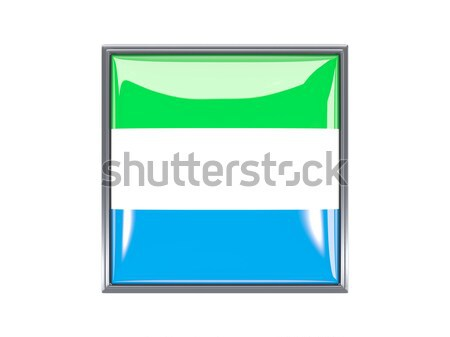 Square metal button with flag of sierra leone Stock photo © MikhailMishchenko