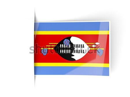 Vierkante metaal knop vlag Swaziland geïsoleerd Stockfoto © MikhailMishchenko