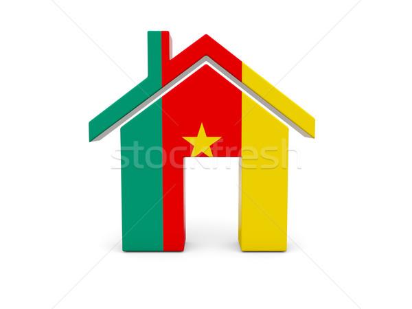 Domu banderą Kamerun odizolowany biały wyszukiwania Zdjęcia stock © MikhailMishchenko