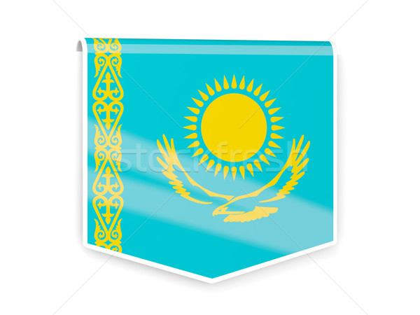 Flagge Label Kasachstan isoliert weiß Zeichen Stock foto © MikhailMishchenko