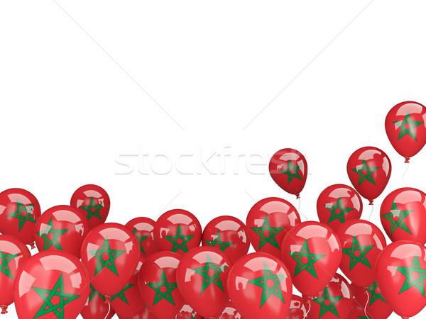 Stock fotó: Repülés · léggömbök · zászló · Marokkó · izolált · fehér