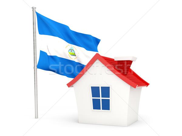 Ház zászló Nicaragua izolált fehér otthon Stock fotó © MikhailMishchenko