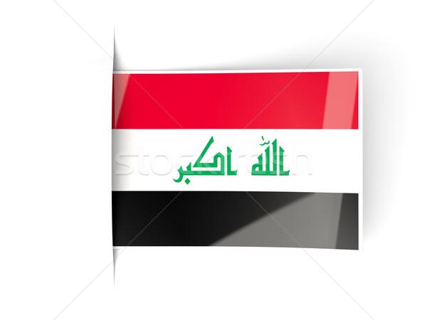 Vierkante label vlag Irak geïsoleerd witte Stockfoto © MikhailMishchenko