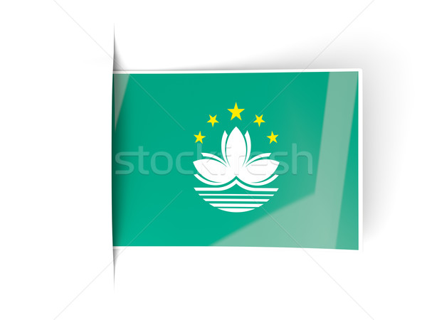 Square label with flag of macao Stock photo © MikhailMishchenko
