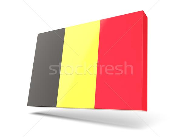 Cuadrados icono bandera Bélgica aislado blanco Foto stock © MikhailMishchenko