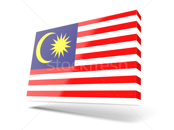Praça ícone bandeira Malásia isolado branco Foto stock © MikhailMishchenko