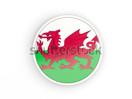 Round sticker with flag of wales Stock photo © MikhailMishchenko