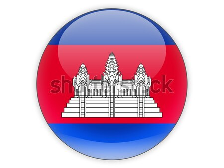 Icon vlag Cambodja glanzend teken reizen Stockfoto © MikhailMishchenko