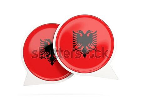 Round sticker with flag of albania Stock photo © MikhailMishchenko