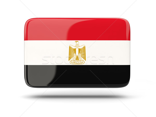 Stock photo: Square icon with flag of egypt