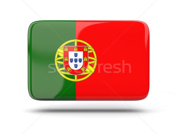 Vierkante icon vlag Portugal schaduw teken Stockfoto © MikhailMishchenko