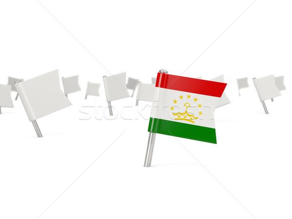 Square pin with flag of tajikistan Stock photo © MikhailMishchenko