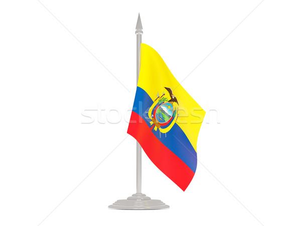 флаг Эквадор флагшток 3d визуализации изолированный белый Сток-фото © MikhailMishchenko