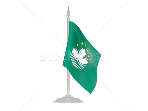 Bandera asta de bandera 3d aislado blanco Foto stock © MikhailMishchenko