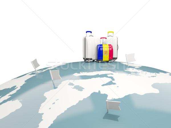 Gepäck Flagge drei Taschen top Welt Stock foto © MikhailMishchenko
