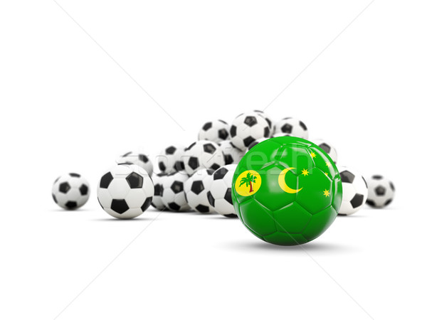 Football with flag of cocos islands isolated on white Stock photo © MikhailMishchenko