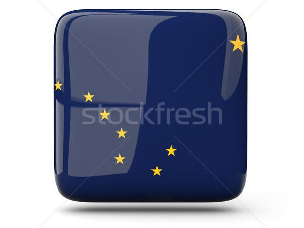 Bandeira praça ícone isolado branco ilustração 3d Foto stock © MikhailMishchenko