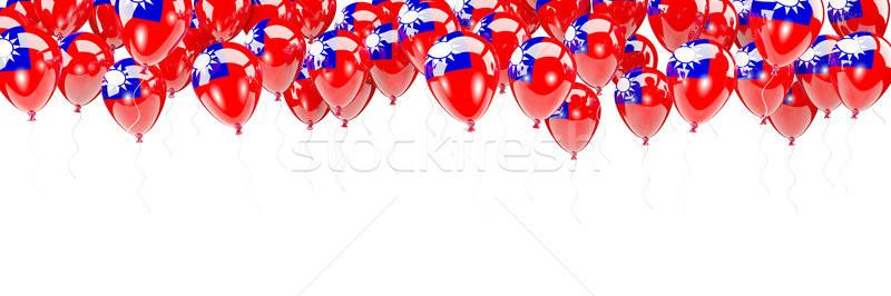 Balonlar çerçeve bayrak Tayvan yalıtılmış beyaz Stok fotoğraf © MikhailMishchenko