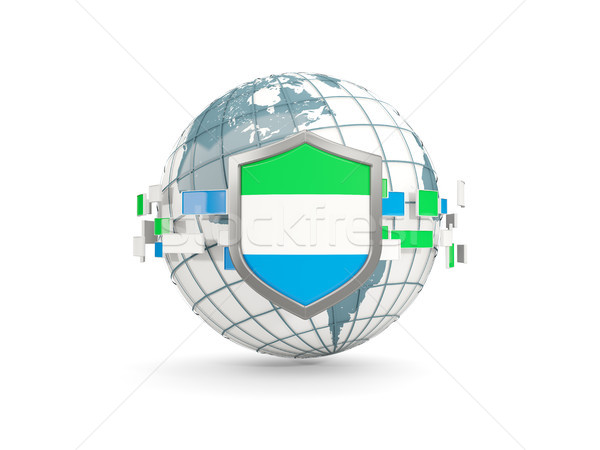 Globe and shield with flag of sierra leone isolated on white Stock photo © MikhailMishchenko