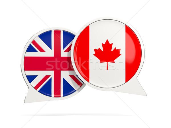 Chat bubbles of UK and Canada isolated on white Stock photo © MikhailMishchenko