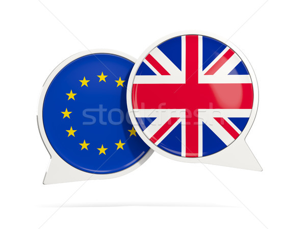 Chat bubbles of EU and UK isolated on white Stock photo © MikhailMishchenko