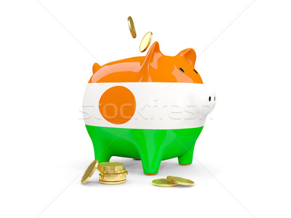 Fat piggy bank with fag of niger Stock photo © MikhailMishchenko
