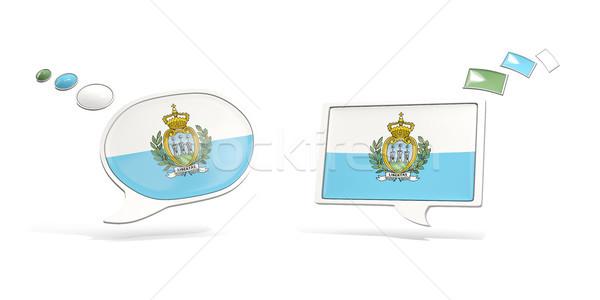 два чате иконки флаг Сан-Марино квадратный Сток-фото © MikhailMishchenko