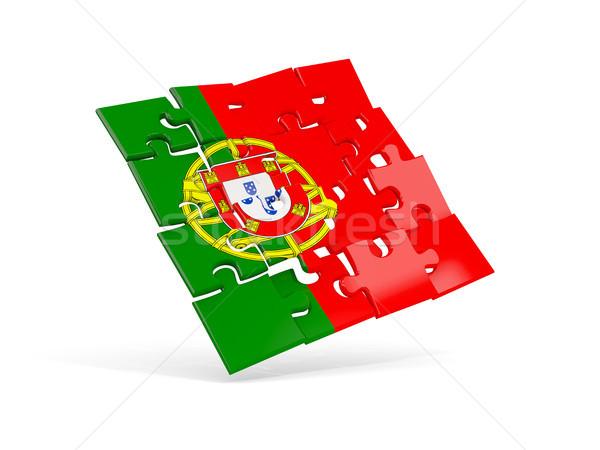 Quebra-cabeça bandeira Portugal isolado branco ilustração 3d Foto stock © MikhailMishchenko