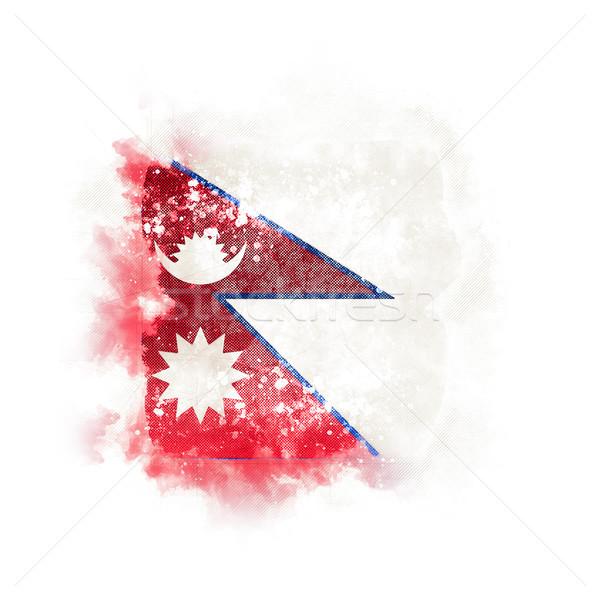 квадратный Гранж флаг Непал 3d иллюстрации ретро Сток-фото © MikhailMishchenko