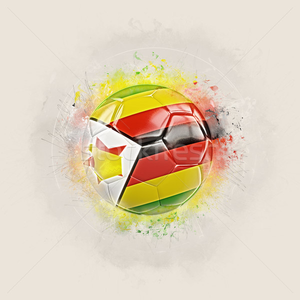 Grunge football with flag of zimbabwe Stock photo © MikhailMishchenko