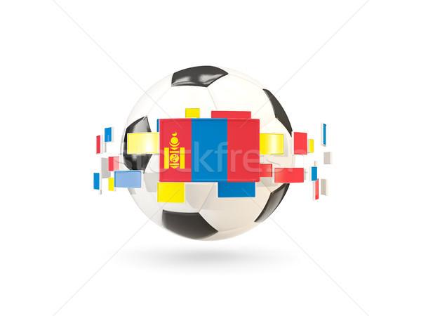 Futballabda vonal zászlók zászló Mongólia lebeg Stock fotó © MikhailMishchenko