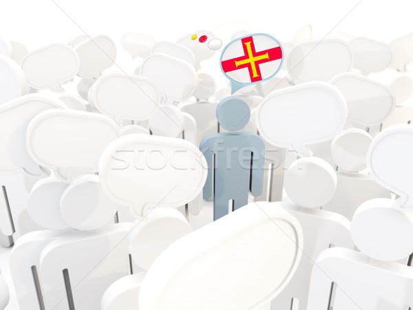 Homem bandeira multidão ilustração 3d assinar viajar Foto stock © MikhailMishchenko