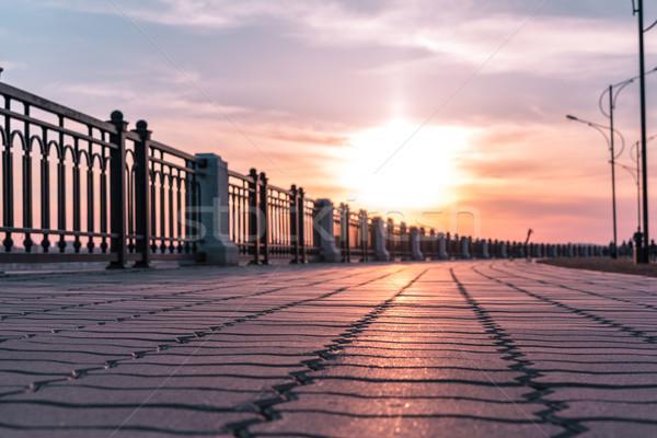 Сток-фото: пусто · тротуаре · Россия · закат · город · улице