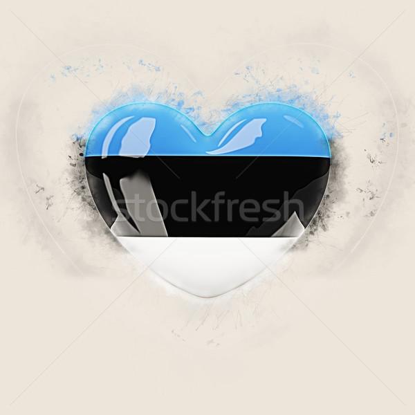 Coração bandeira Estônia grunge ilustração 3d viajar Foto stock © MikhailMishchenko