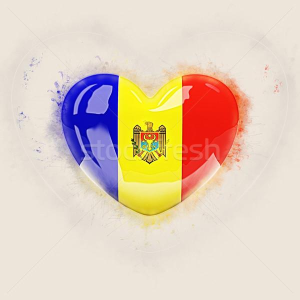 Szív zászló Moldova grunge 3d illusztráció utazás Stock fotó © MikhailMishchenko