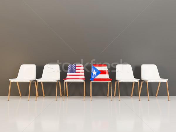Stoelen vlag USA Puerto Rico rij 3d illustration Stockfoto © MikhailMishchenko