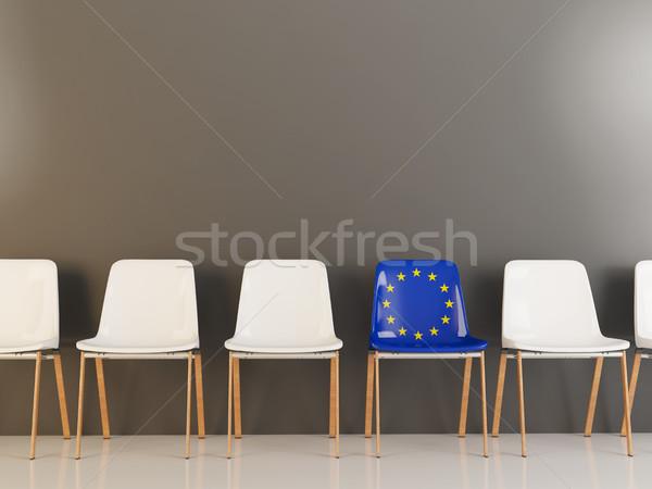 Stoel vlag europese unie rij witte Stockfoto © MikhailMishchenko