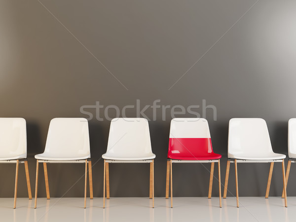 Sandalye bayrak Polonya beyaz sandalye Stok fotoğraf © MikhailMishchenko