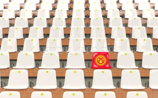 Stadion zitting vlag Kirgizië rij witte Stockfoto © MikhailMishchenko