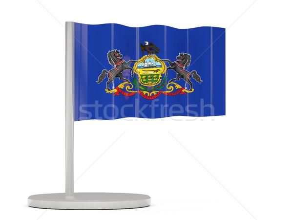 Bandeira pin Pensilvânia Estados Unidos local bandeiras Foto stock © MikhailMishchenko