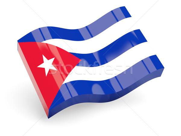 3D bandeira Cuba isolado branco onda Foto stock © MikhailMishchenko