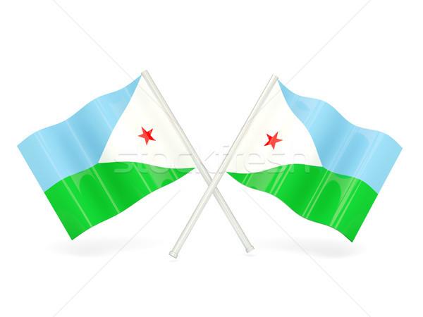 Banderą Dżibuti dwa falisty flagi odizolowany Zdjęcia stock © MikhailMishchenko