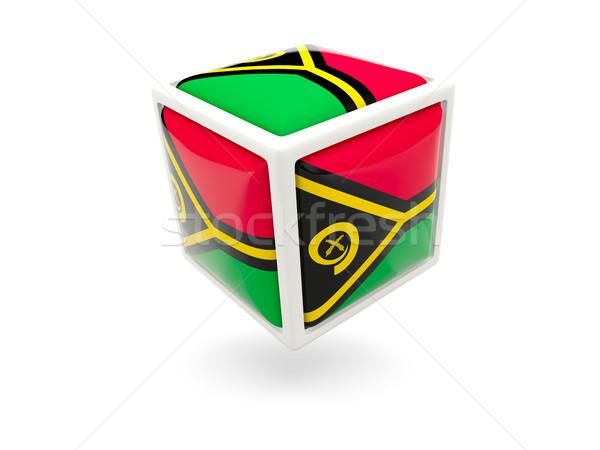 Bandeira Vanuatu cubo ícone isolado branco Foto stock © MikhailMishchenko