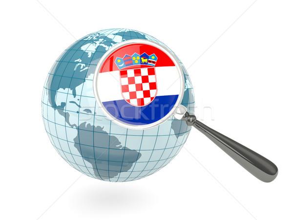 Zdjęcia stock: Banderą · Chorwacja · niebieski · świecie · odizolowany