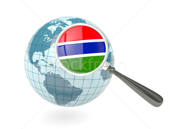 Stock photo: Magnified flag of gambia with blue globe